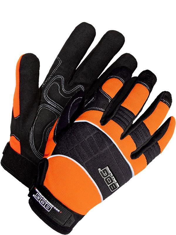 Guantes de mecánico de cuero sintético con aislamiento y palma acolchada (alta visibilidad)