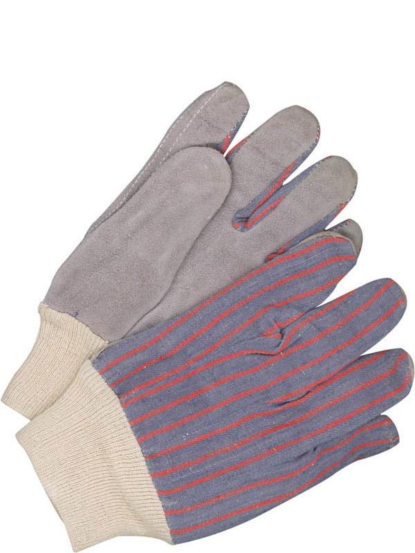 Gant d'ajusteur en cuir de vache refendu avec poignet en tricot et dos en coton