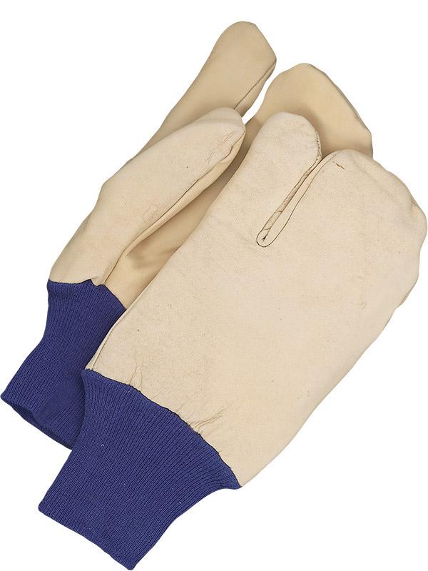 Lined Grain Cowhide 1-Finger Mitt w/Knit Wrist