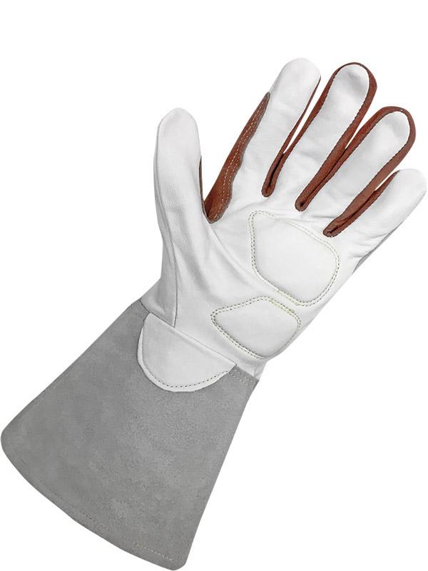 Bob Dale 60-1-1634-L Premium Split Leather Moose Hide Tig Welder Glove with Both Hand Patch Large Tan