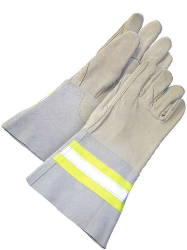 Grain Cowhide Utility Glove w/Gauntlet Cuff (Hi-Viz)