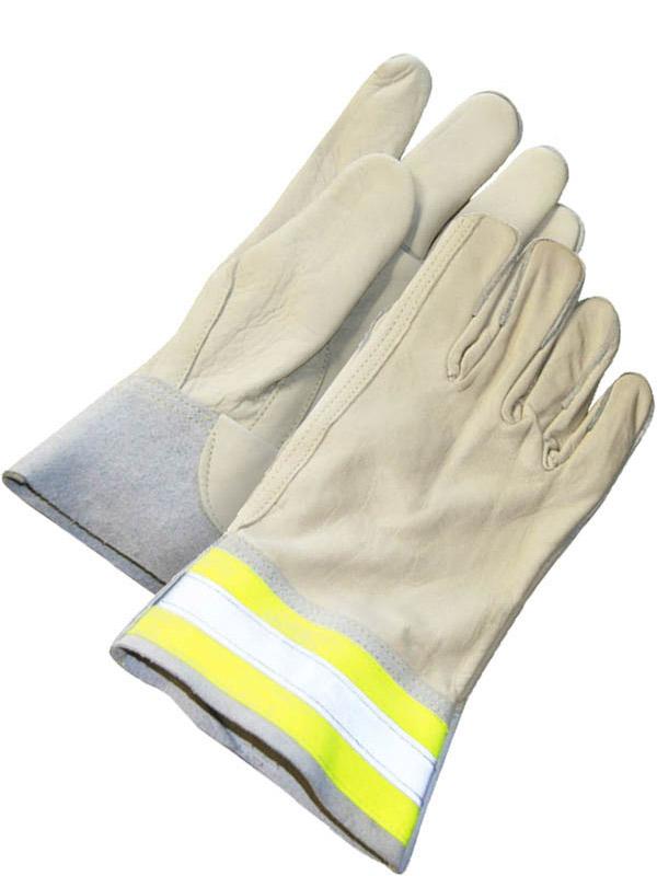 Grain Cowhide Utility Glove w/Band Cuff (Hi-Viz)