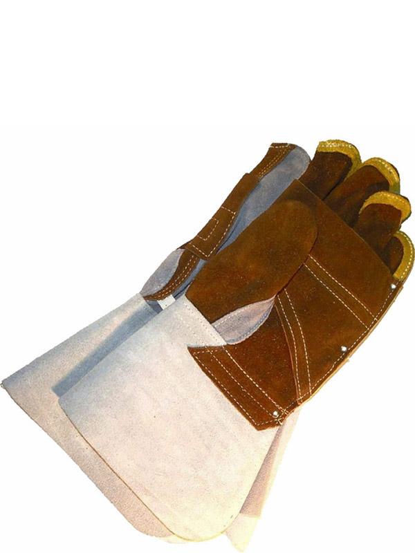 Split Cowhide Welder w/Gauntlet Cuff & Double Palm
