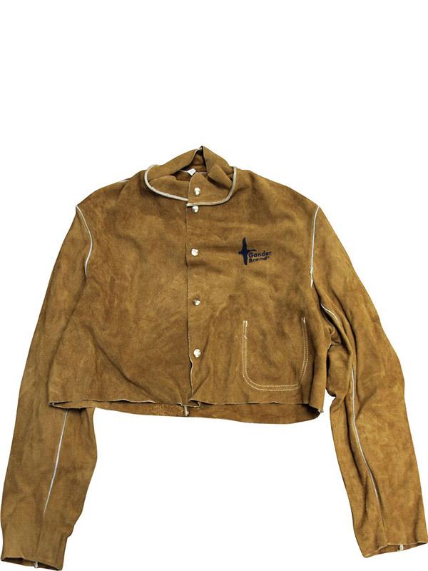 Demi-veste de soudage en cuir refendu