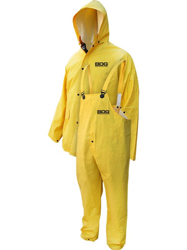PVC/Polyester Rain Suit w/Jacket, Hood & Bib Pants